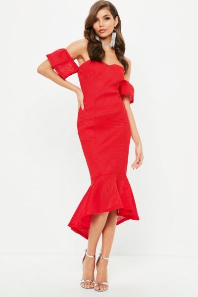 Missguided Red Bonded Fishnet Bardot Midi Dress