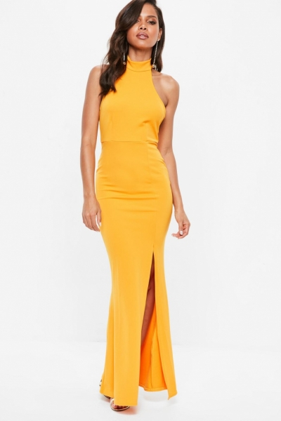 Missguided Yellow Choker Halterneck Low Back Maxi Dress